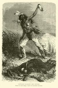 Native American Holding Up the Scalp of His Enemy