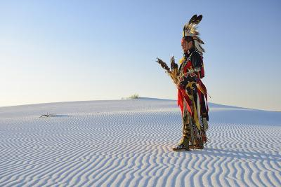 Native American in Full Regalia, White Sands National Monument, New Mexico, Usa Mr-Christian Heeb-Photographic Print