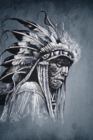 Native American Indian Head, Chief, Vintage Style-outsiderzone-Art Print