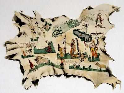 Native American Painting on Animal Skin, 19th Century--Giclee Print