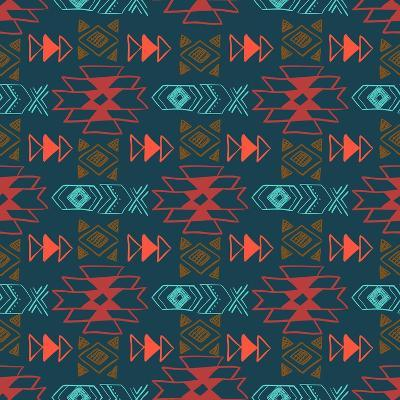 Native American Seamless Pattern with Abstract Aztec Symbols. Colored Hand Drawn Doodle Vector Back- Lianella-Art Print