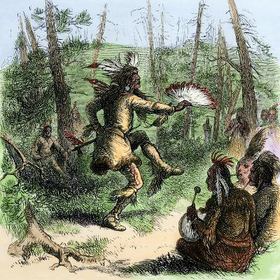 Native American Shaman Leading a Ceremonial Dance--Giclee Print