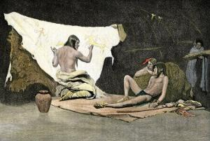 Native American Shaman Using Pictures on a Buffalo Robe to Cure a Young Man's Illness