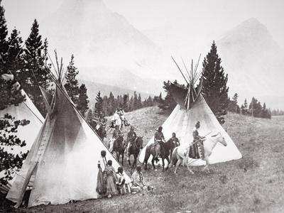Native American Teepee Camp, Montana, C.1900 (B/W Photo)-American Photographer-Giclee Print