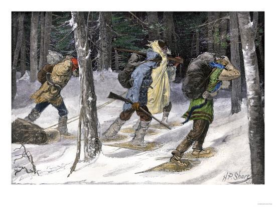 Native American Trappers Carrying Furs on Snowshoes in a Forest of the Pacific Northwest--Giclee Print