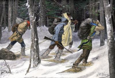 Native American Trappers Carrying Furs on Snowshoes in a Forest of the Pacific Northwest