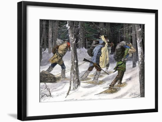 Native American Trappers Carrying Furs on Snowshoes in a Forest of the Pacific Northwest--Framed Giclee Print