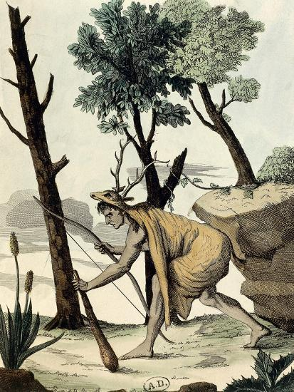 Native American Warrior Covered with Animal Hides--Giclee Print
