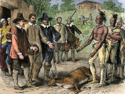 Native Americans Bringing a Deer to New England Colonists, 1600s--Giclee Print