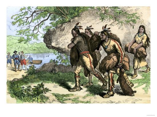 Native Americans Bringing Beaver Pelts to White Traders--Giclee Print