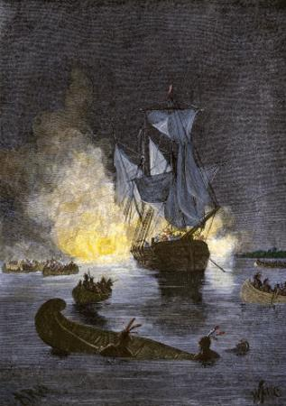 Native Americans Burning a Schooner in the Detroit River at Night during Pontiac's War, c.1763-1764