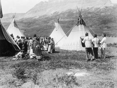 Native Americans Dance amongst Teepees-Philip Gendreau-Photographic Print