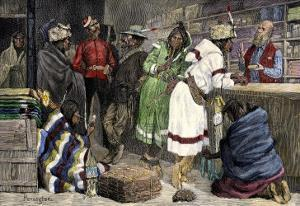 Native Americans Exchanging Furs for Goods at a Hudson Bay Company Post