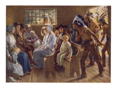 Native Americans Interrupt a Puritan Church Service--Giclee Print