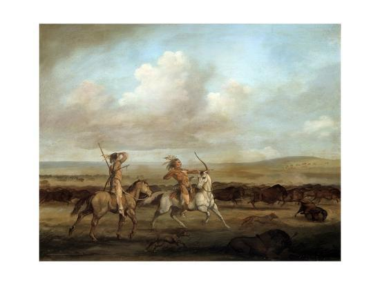 Native Americans on Horseback Hunting Bison by George Catlin--Giclee Print