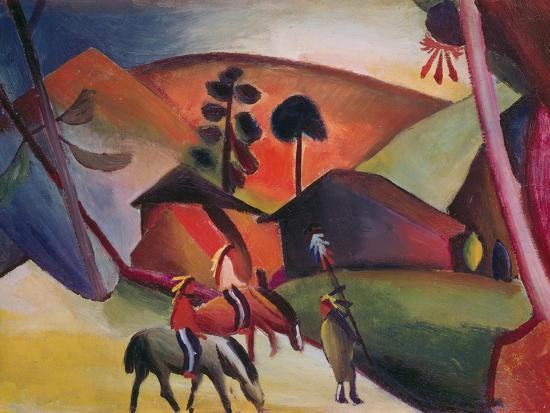 Native Americans on Horses, 1911-Auguste Macke-Giclee Print