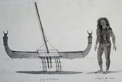 Native and Canoe Aouera Island, Engraving from Voyage around World, 1822-1825-Louis Isidore Duperrey-Giclee Print
