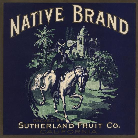 Native Brand - California - Citrus Crate Label-Lantern Press-Art Print