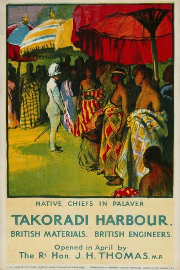 Native Chiefs in Palaver, Takoradi Harbour-Gerald Spencer Pryse-Giclee Print