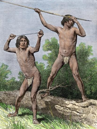 Native Hunters of Tierra Del Fuego with Spear and Sling--Giclee Print