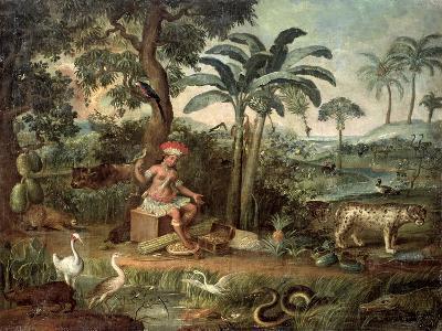 Native Indian in a Landscape with Animals-Jose Teofilo de Jesus-Giclee Print