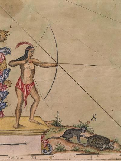 Native Indian with Bow and Arrow from Map of Panama, 1744--Giclee Print