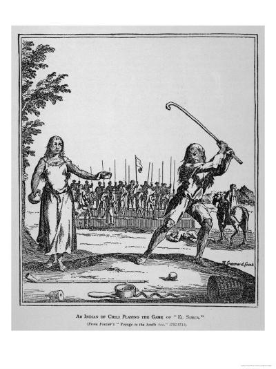 """Native of Chile Prepares to Smite His Ball During a Game of """"El Sueca"""" an Early Form of Golf--Giclee Print"""