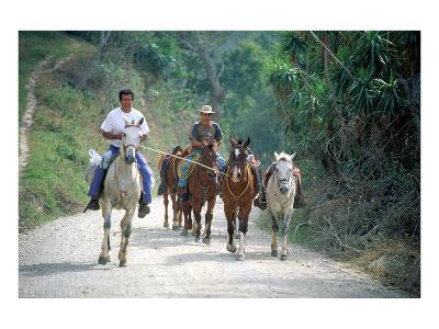 Native people on horses, Costa Rica--Art Print