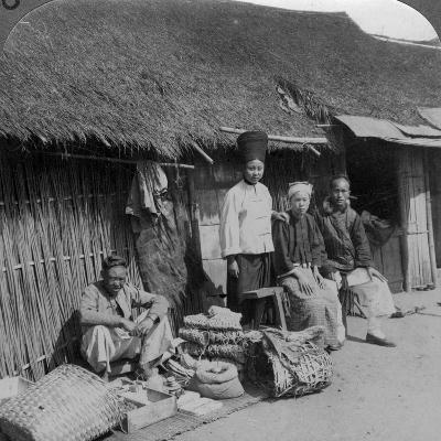 Native Shop and Customers, Near Mogok, Northern Burma, C1900s-Underwood & Underwood-Photographic Print