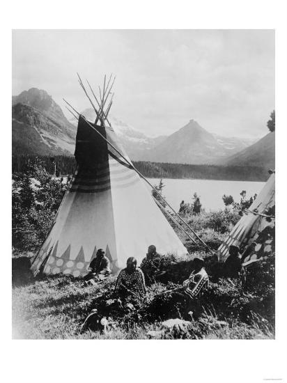Native Teepees at Two Medicine Valley, Glacier National Park, Montana-Lantern Press-Art Print