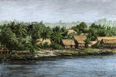 Native Village in Borneo Near Sarawak, 1800s--Giclee Print