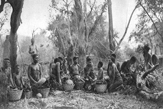 Native Women with Baskets of Hippo Meat, Karoo, South Africa, 1924-Thomas A Glover-Giclee Print