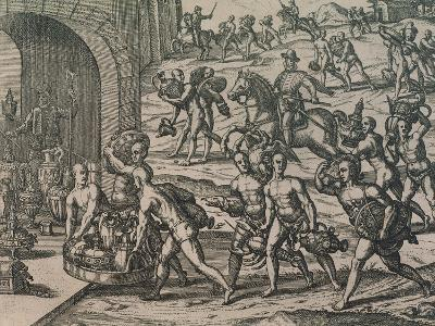 Natives Carrying Gold and Silver to the Conquerors, 1602--Giclee Print