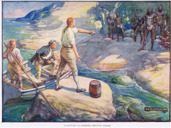 Natives Gathered Round Them-Joseph Ratcliffe Skelton-Giclee Print