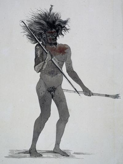 Natives of Waigeo Island, Watercolor from Voyage around World, 1822-1825-Louis Isidore Duperrey-Giclee Print