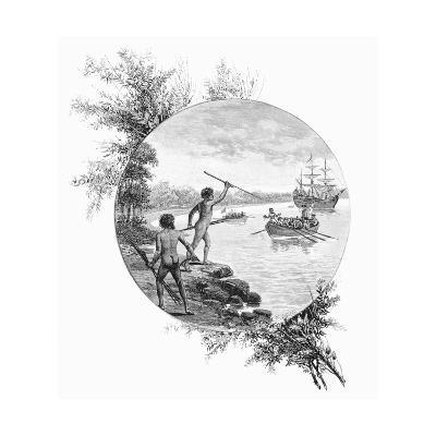 Natives Opposing Captain Cook's Landing, Australia, 1770-W Macleod-Giclee Print