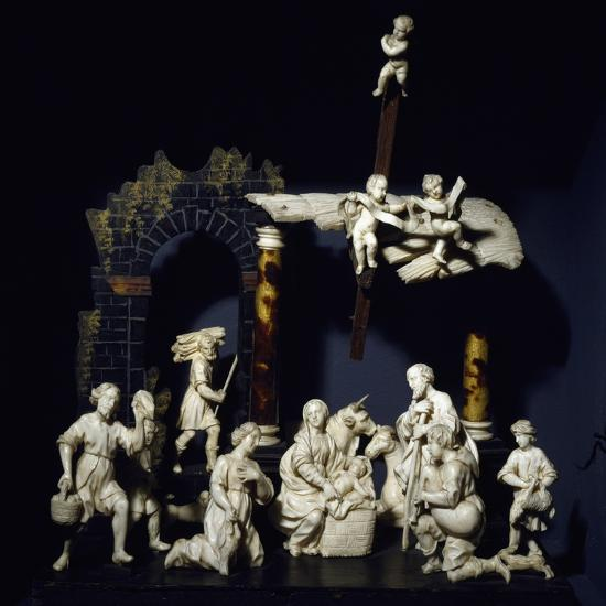 Nativity and Adoration of Shepherds, Tyrolean Nativity Scene with Figurines in Ivory and Tortoise--Giclee Print