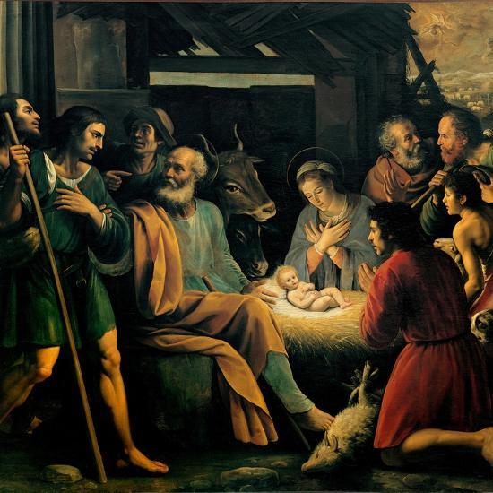 Nativity and the Adoration of the Shepherds-Giuseppe Vermiglio-Art Print