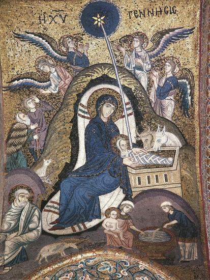 Nativity, Byzantine Mosaic Work, Church of La Martorana, Palermo, Sicily, Italy--Giclee Print