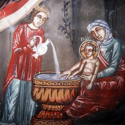 Nativity, Detail of the Bathing of Jesus-Symeon Axenti-Giclee Print