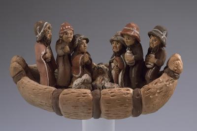 Nativity, Nativity Scene in Painted Terracotta Boat, Peru--Giclee Print