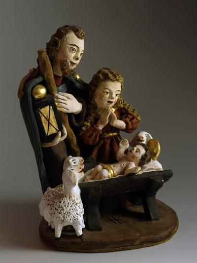 Nativity, Nativity Scene with Painted Wood Figurines, Austria--Giclee Print