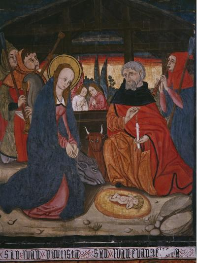 Nativity, Panel from the Church San Andres of Tortura, Late 15th Century-Early 16th Century-Spanish School-Giclee Print