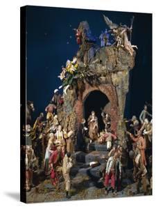 Nativity, Spanish-Neapolitan Polychrome Wood Nativity Scene, Spain