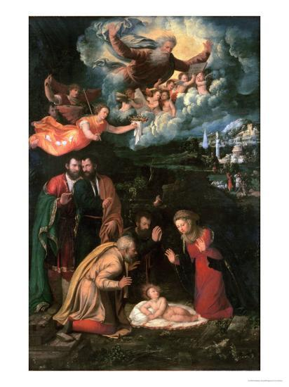Nativity with God the Father-Battista Dossi-Giclee Print