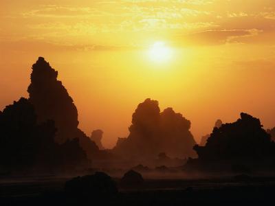 Natural Chimney Formations at Sunset, Lake Abbe, Djibouti-Frances Linzee Gordon-Photographic Print