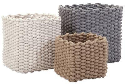 Natural Cotton Rope Basket Trio *