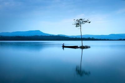 Natural Landscape in Blue. A Boat Floating in Smooth Water at Tranquil Lake .Many Traveller Come Fo- worradirek-Photographic Print