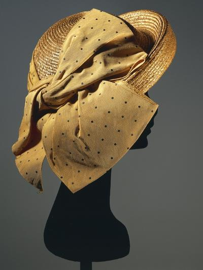 Natural Sewn Braid Straw Hat with Side Bow in Mustard Color with Black Dots, 1942--Giclee Print