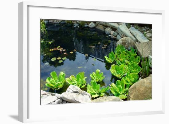 Natural Stone Pond as Landscaping Design Element-elenathewise-Framed Photographic Print